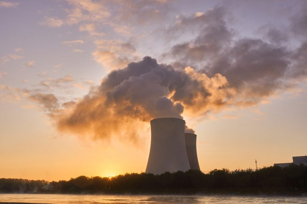 nuclear power plant, cooling tower, sunrise-4535760.jpg